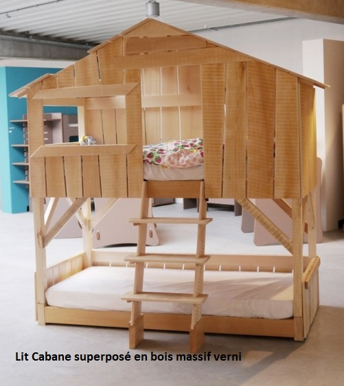 lit enfant superpos cabane en bois massif mathy by bols. Black Bedroom Furniture Sets. Home Design Ideas