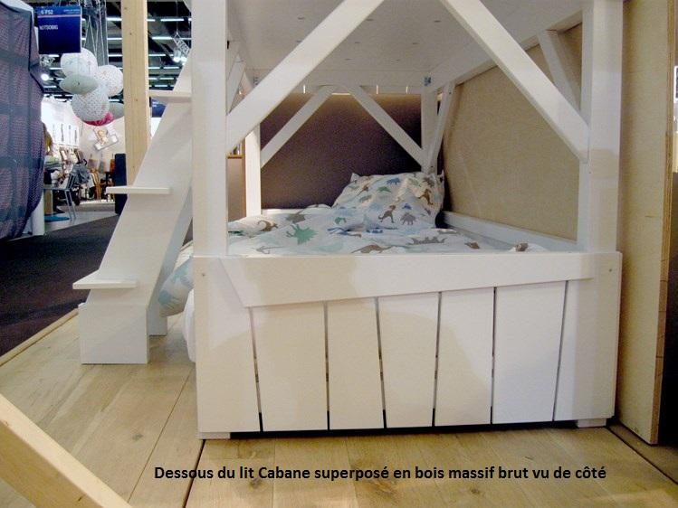 Lit enfant superpos? cabane en bois massif MATHY BY BOLS LIT CABANE~ Lit Superpose En Bois Pas Cher
