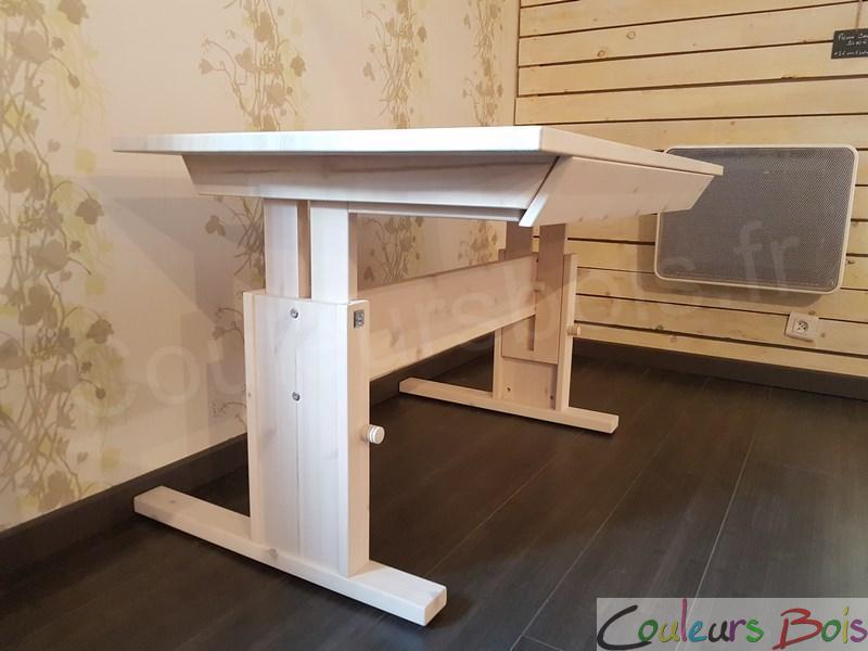 Grand bureau enfant en bois massif r glable avec tiroir lifetime - Bureau enfant pin massif ...