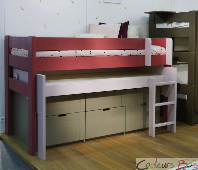 lit mezzanine enfant en bois massif dominique 127 cm mathy by bols. Black Bedroom Furniture Sets. Home Design Ideas