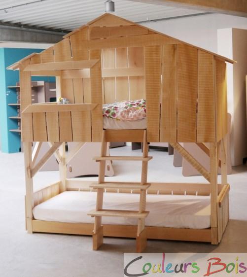 lit enfant superpos cabane en bois massif. Black Bedroom Furniture Sets. Home Design Ideas