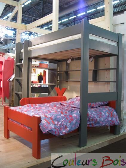 lit mezzanine enfant en bois massif dominique 172 cm mathy. Black Bedroom Furniture Sets. Home Design Ideas