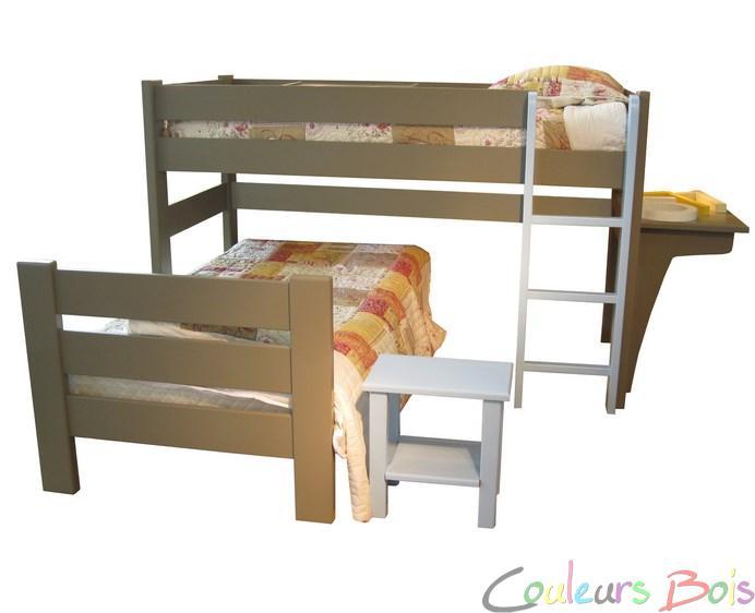 lit mezzanine enfant en bois massif dominique 127 cm mathy by bols mathy by bols sur 127 90 b. Black Bedroom Furniture Sets. Home Design Ideas
