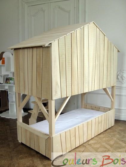 lit enfant superpos cabane en bois massif mathy by bols. Black Bedroom Furniture Sets. Home Design Ideas
