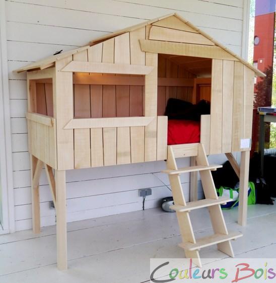 lit enfant sur lev cabane en bois massif mathy by bols lit cabane 90 x 190 massi couleurs. Black Bedroom Furniture Sets. Home Design Ideas