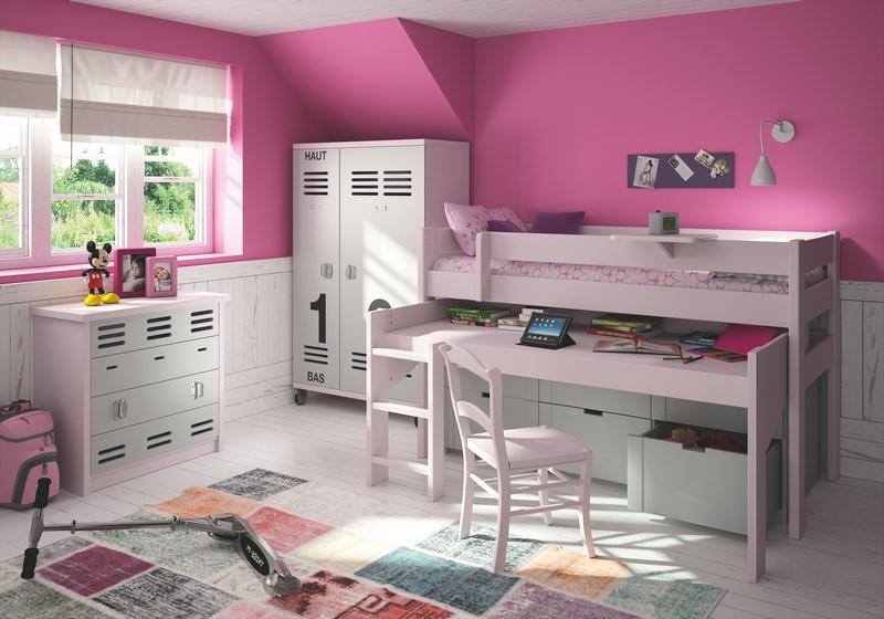 Chambre enfant moderne avec mezzanine Mathy by Bols