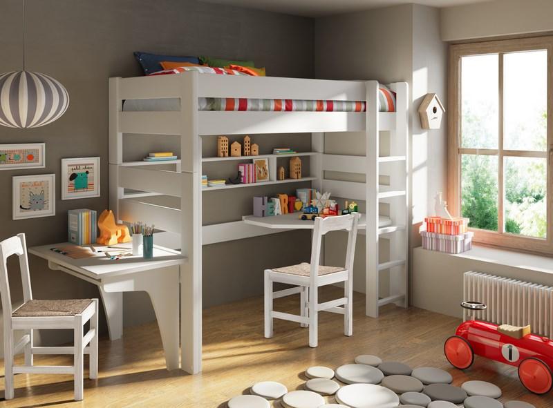 Chambre enfant écologique avec mezzanine et bureau mathy by bols