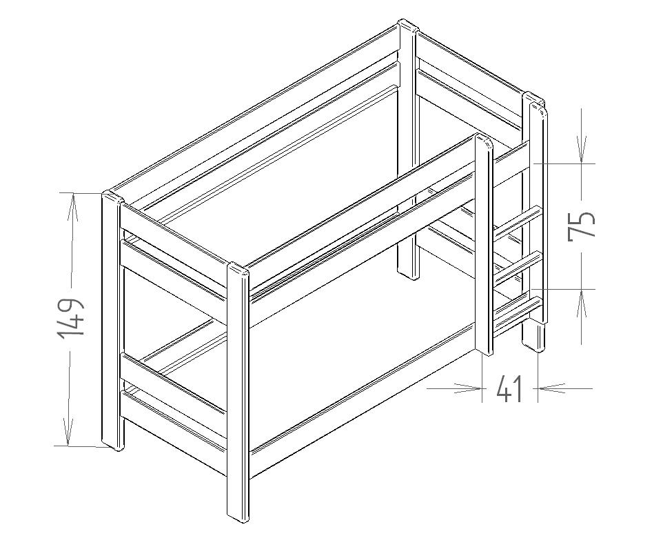Dimensions du lit enfant superpose 149 Mathy by Bols