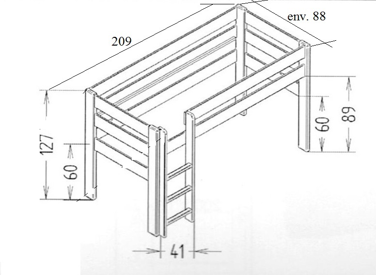 Dimensions du lit enfant mezzanine 127 Mathy by Bols
