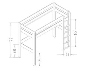 Dimensions du lit mezzanine enfant 172 Mathy by Bols