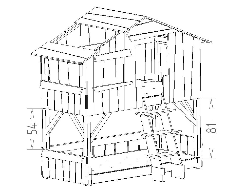 Dimensions du lit enfant cabane superpose Mathy by Bols