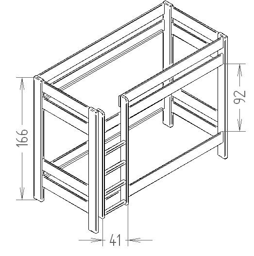 Dimensions du lit enfant superpose 166 Mathy by Bols