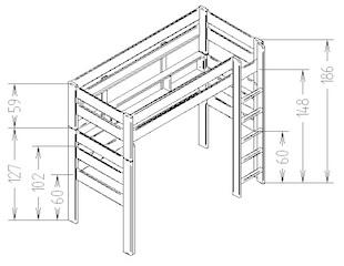 Dimensions du lit mezzanine enfant 186 Mathy by Bols