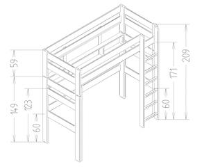 Dimensions du lit mezzanine enfant 209 Mathy by Bols
