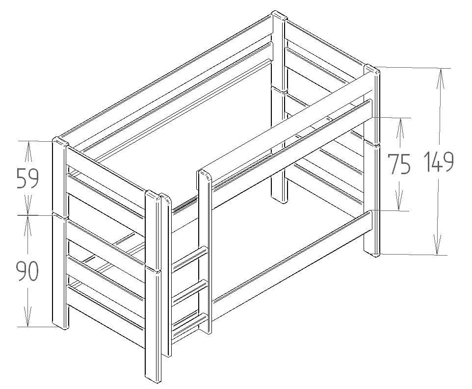 Dimensions du lit superpose 149 separable Mathy by Bols
