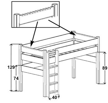 Dimensions du lit enfant mezzanine 129 Mathy by Bols