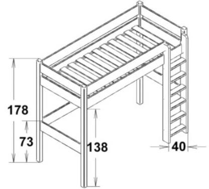 Dimensions du lit mezzanine enfant 178 Mathy by Bols