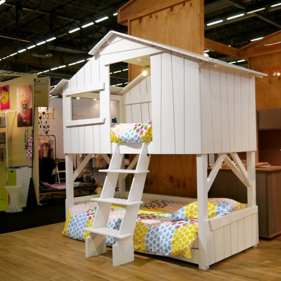 Lit enfant superpose cabane blanc Mathy by Bols