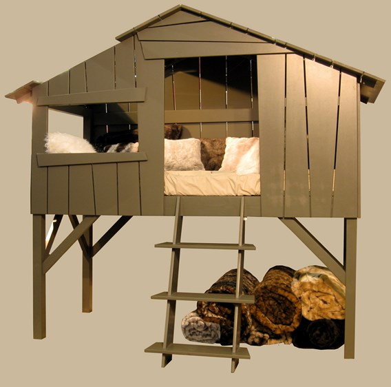 Lit cabane Mathy by Bols couleur taupe