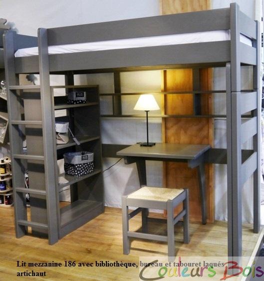 Lit mezzanine enfant en bois massif Dominique 209 cm Mathy ...